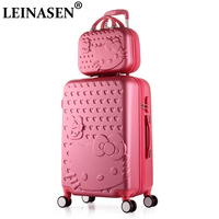 2PCS/SET Lovely 14 Cosmetic bag hello Kitty 20/22/24/28 inch girl students trolley case Travel luggage woman rolling suitcase