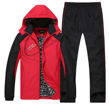 Sportsuits Men Thermal Sets Winter Workout Sport Suit Fleece Lining Warm Tracksuit 2018 New Windproof Gym Running Sportswear Set men sportswear spring windproof gym sport suit 2017 new printing pattern breathable fabric tracksuit jogger jogging running sets