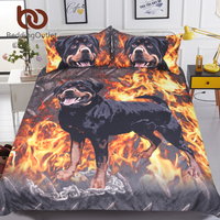 BeddingOutlet Rottweiler Bedding Set 3D Printed Kids Boys Duvet Cover Fire Dog Bed Set Animal Printed Bedclothes Home Textiles