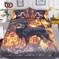 BeddingOutlet Rottweiler Bedding Set 3D Printed Kids Boys Duvet Cover Fire Dog Bed Set Animal Bedclothes Home Textiles Dropship