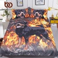 BeddingOutlet Rottweiler Bedding Set 3D Printed Kids Boys Duvet Cover Fire Dog Bed Set Animal Printed Bedclothes Home Textiles