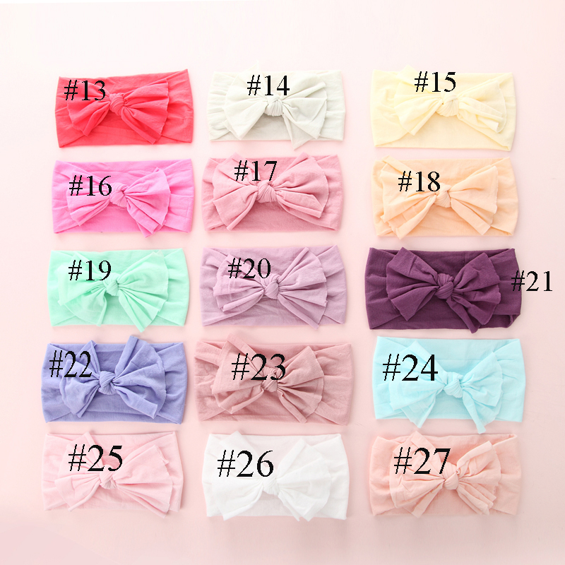 30pc/lot New Kids Skinny Soft Bowknot Nylon Headbands Pale Pink Color Nylon Elastic Headbands Children Girls Hair Accessories