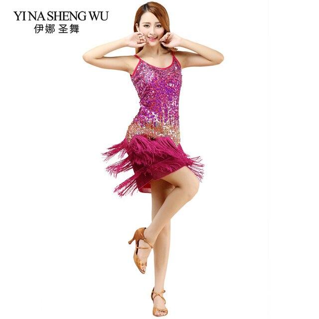 44f94765f74ce New Sexy Sling Latin Dance Dresses Women Ballroom Dance Latin Salsa Samba  Dancewear Tassel Sequins Latin Dance Competition Dress