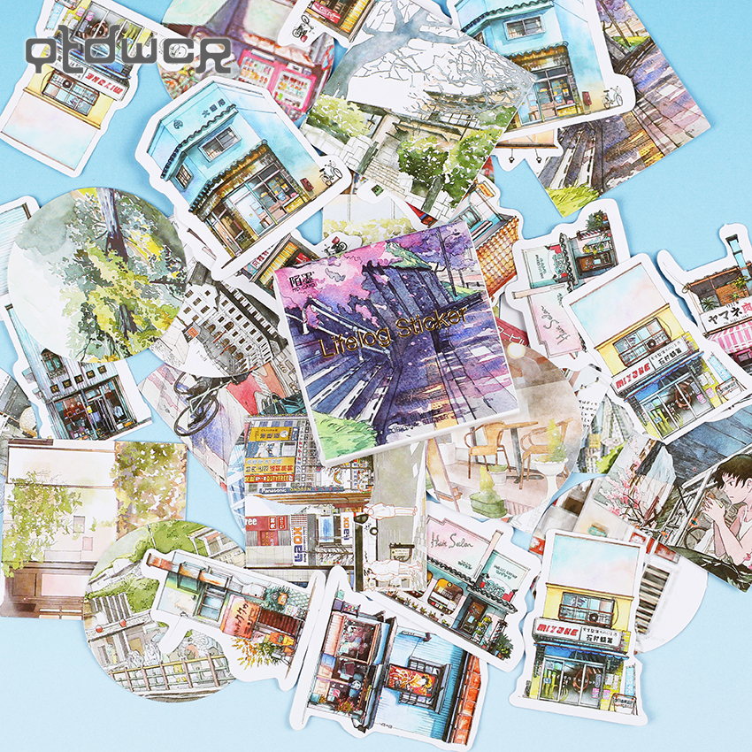 90PCS/2sets Travel Landscape Mini Paper Sticker Decoration DIY Album Diary Scrapbooking Label Sticker Kawaii Stationery