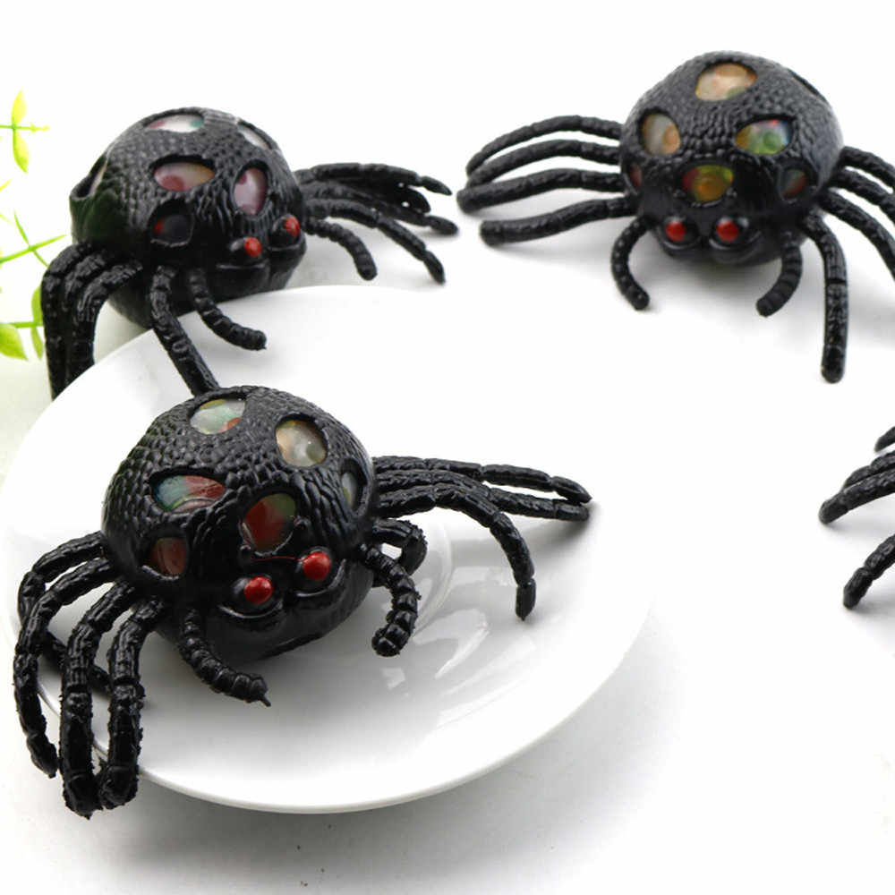 Cute Black Spider Mesh Ball Stress Squeeze Grape Toys Anxiety Relief Stress Ball Decoration Squeeze Toy For Terror Partys S
