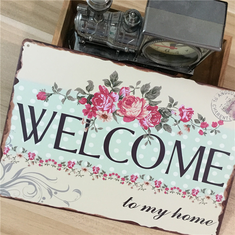 Welcome To My Home Tin Signs Metal Sign Vintage Painting Bar Pubs Wall Decoration Pictures 20x30cm In Plaques From