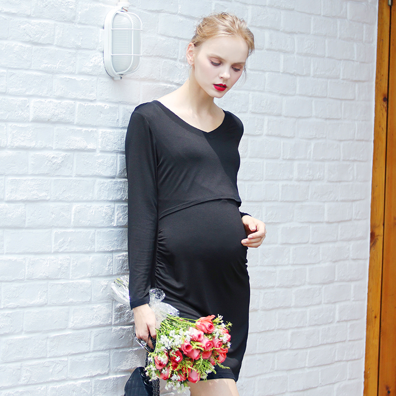 a0683b786e6 Pregnancy Maternity Breastfeeding Dress Clothes Hamile Elbise Pregnant  Women Clothing Maternity Nursing Dress Gown 502200