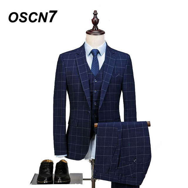 be3017cfa509 OSCN7 Tailor Made Men Suit Plaid 3 Piece Leisure Business Wedding Suits for  Men Large Size 2018 Navy Blue Costume Homme