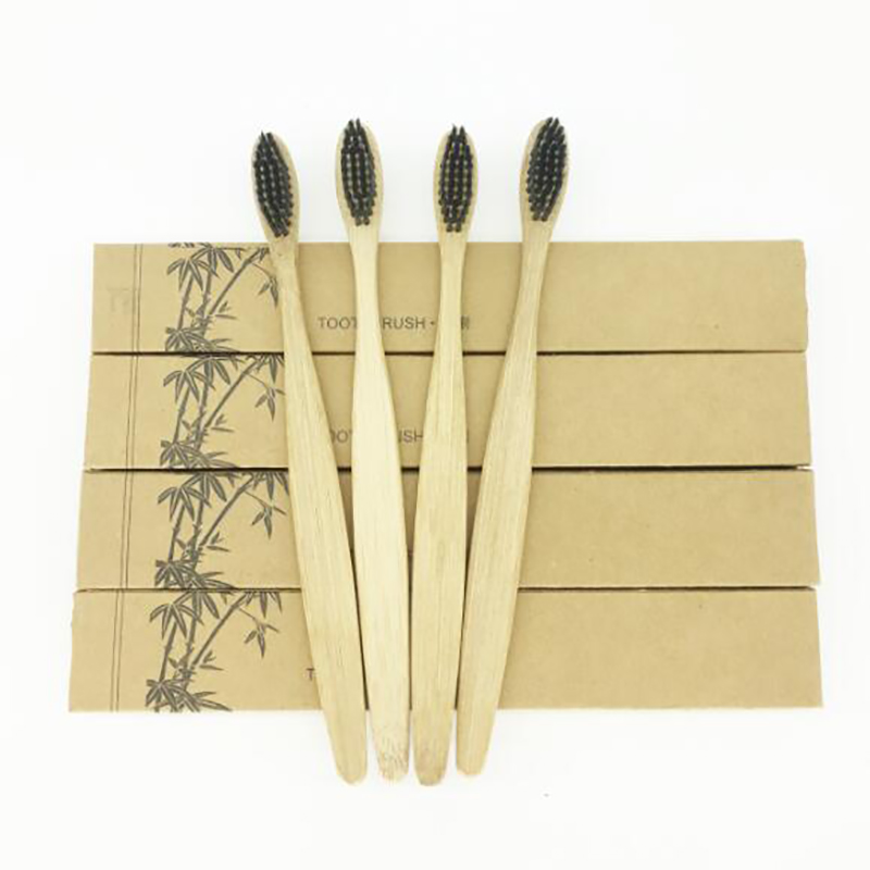 50 Pieces Black 100% Bamboo Toothbrush Wood toothbrush Novelty Bamboo soft-bristle Bamboo Fibre Wooden Handle image