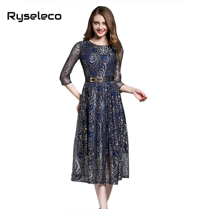 Ryseleco Sexy 2017 Summer Elegant 3/4 Sleeve Embroidery Cutout Floral Lace Dresses Women Fashion Quality Long Maxi Flare Vestido