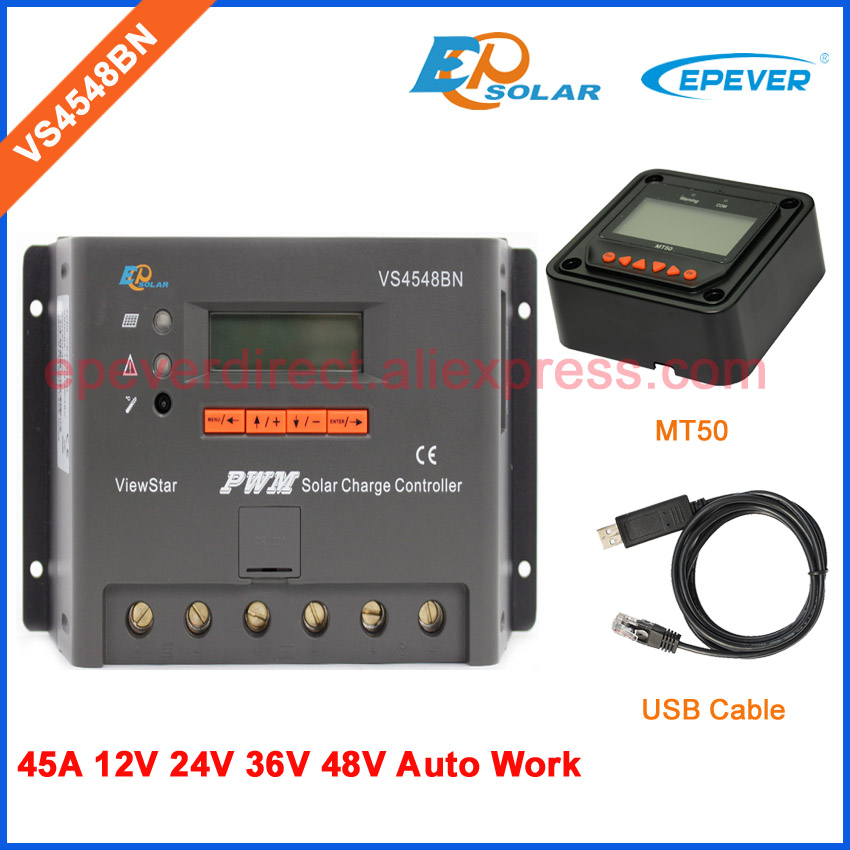 Solar PV power panel system controller EPSolar VS4548BN 45A 45amp USB cable and MT50 remote meter EPEVER
