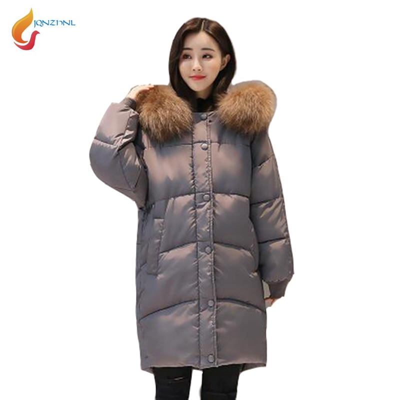 JQNZHNL 2017 Winter Women Casual Cotton Coats Parka Big Fur Collar Loose Jackets Fashion Thicken Down Cotton Coat Outerwear L555