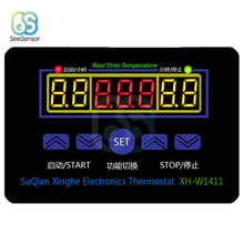 XH-W1411 AC 220V DC 12V Digital Thermostat Real Time Temperature Controller Three Windows Display Control Switch