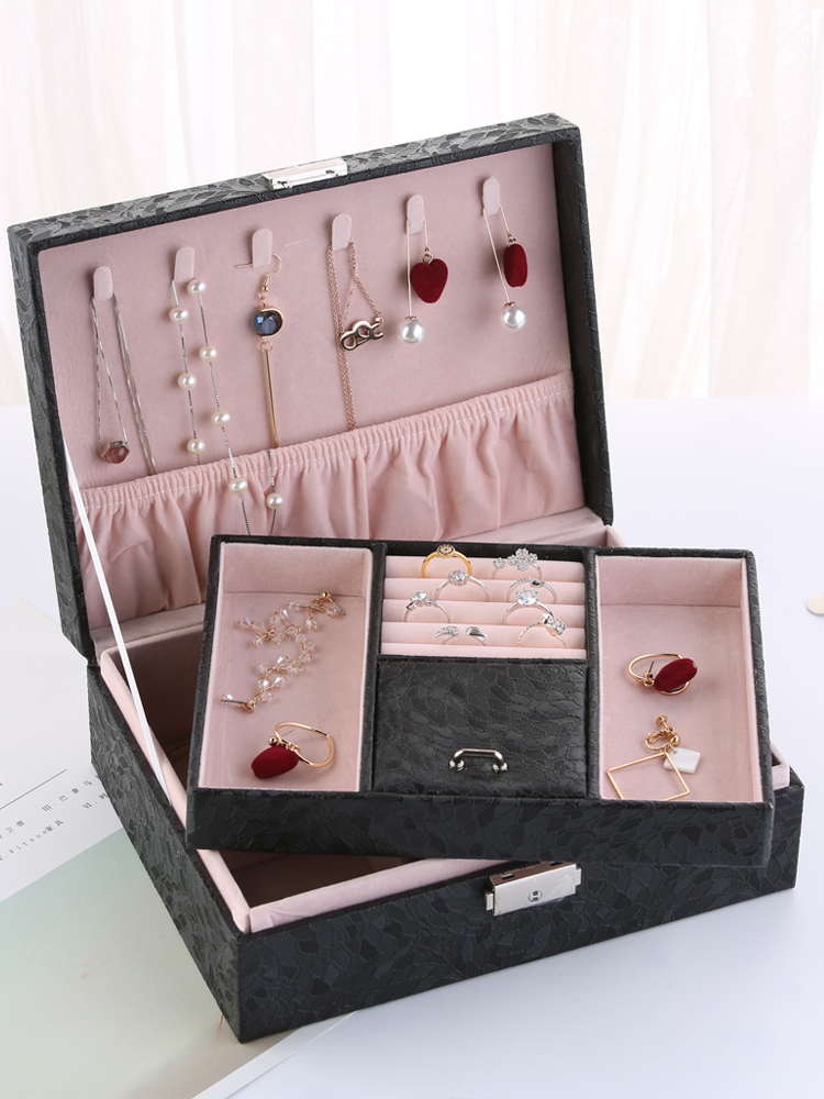 New Korean Big PU Jewelry Case Ladies Two Layers Carrying Storage Ring Necklace Box Strong Leather Jewelry Casket Girls Gift Box