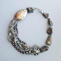 LiiJi Natural Labradorite Freshwater Pearl Abalone Shell Turritella Agates Unique Big Necklace Toggle Clasp Necklace 52cm