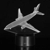 7 Color Aircraft Airplane Acrylic LED 3D LED Night Light Toys Lamp Air Plane Night Touch
