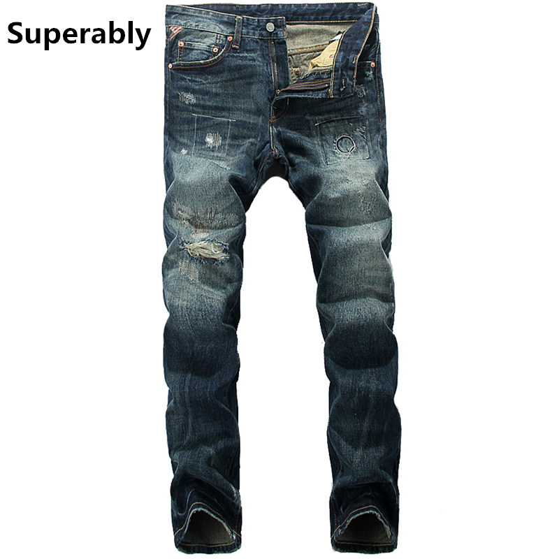 Fashion Slim Fit Mens Dark Jeans Ripped Denim Trousers Dsel Brand Jeans Men With Logo Special Design Jean Pants 28-38 UE375 2017 slim fit jeans men new famous brand superably jeans ripped denim trousers high quality mens jeans with logo ue237