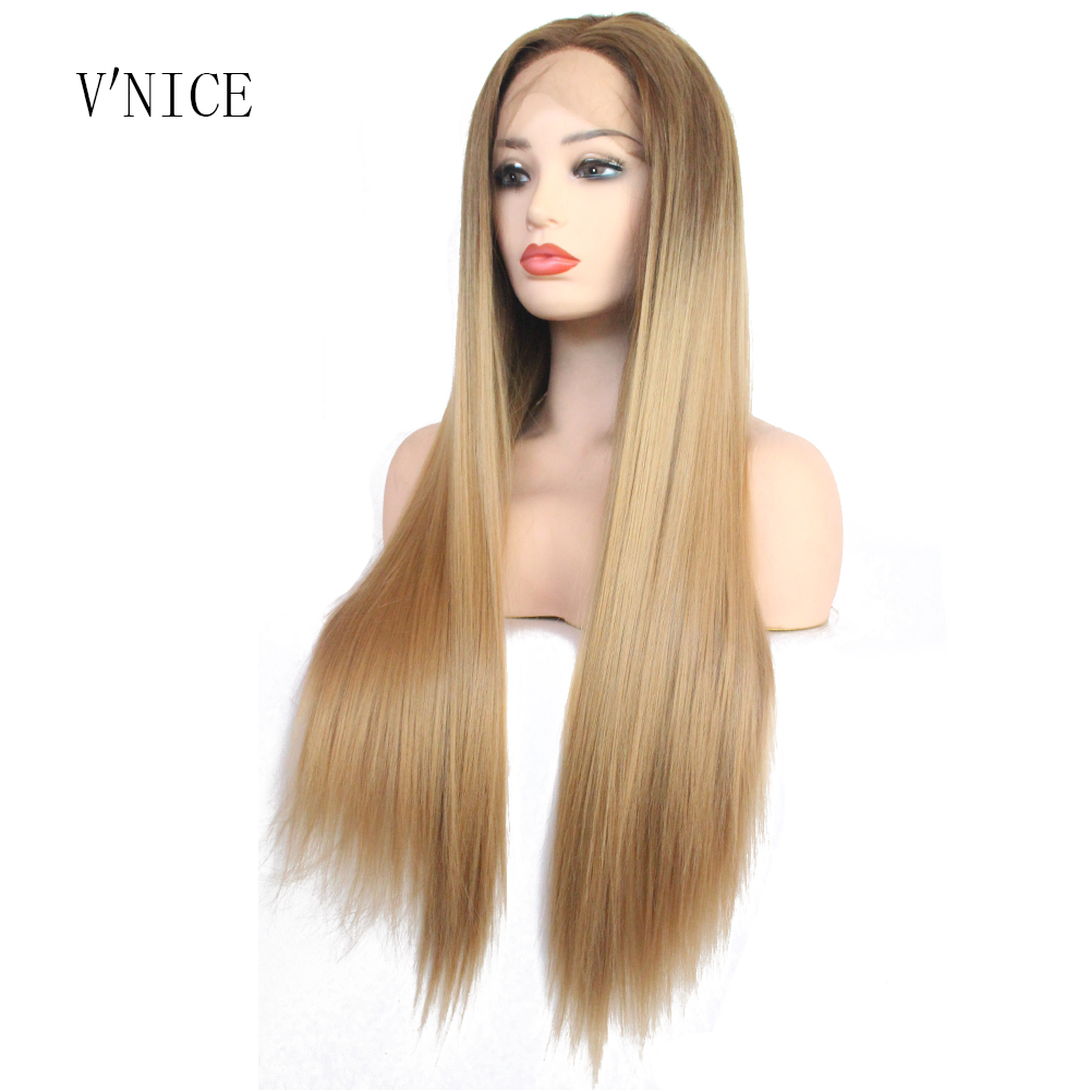 V NICE Natural Long Straight Dark Brown Ombre Honey Blonde Hair Wig Middle Part Synthetic Lace