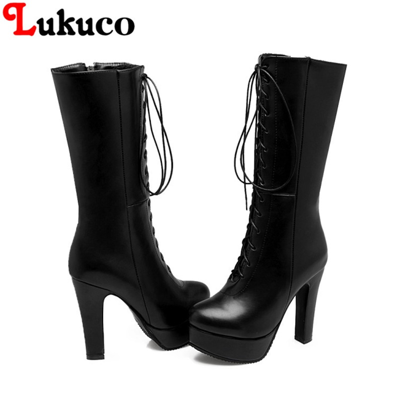 2018 Mature platform boots large oversize 37 38 39 40 41 42 43 44 45 46 47 48 49 round toe design lace up women sexy shoes