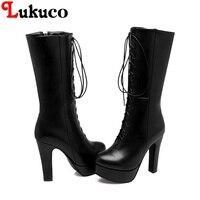 2018 Mature platform boots large oversize 37 38 39 40 41 42 43 44 45 46 47 48 49 round toe design lace up women sexy shoes