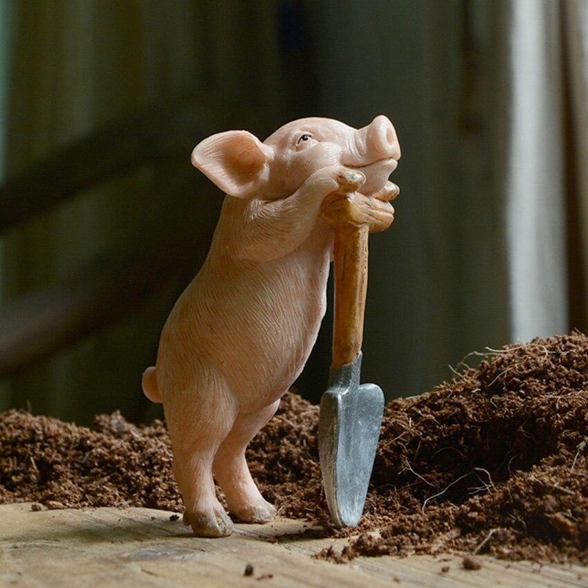 NEW Cute Animal resin pigs creative miniature Figurine Craft teraryum fairy garden miniatures Mini home decor accessories
