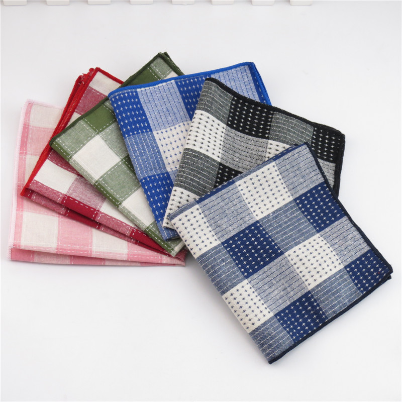 Mantieqingway Cotton Plaid Pocket Square Wedding Party Handkerchief For Men's Business Pocket Towel Casual Hankies