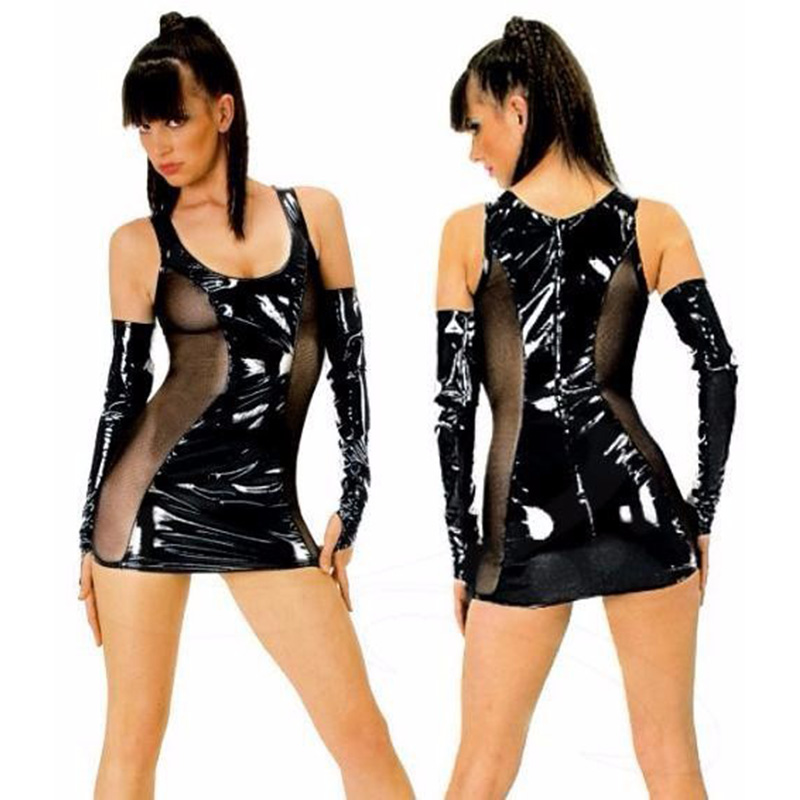 New Mini Exotic PVC Dress With Gloves Transparent Mesh Erotic Sexy Lingerie Leather Women Vinyl Babydoll 20W7020
