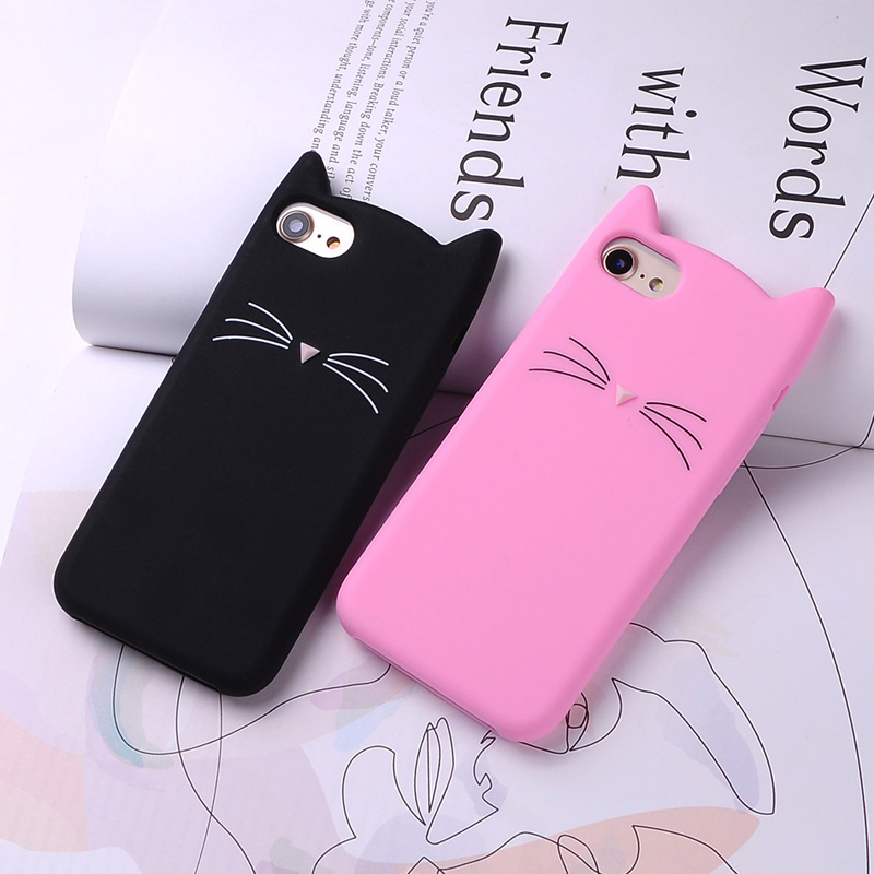 Soft Silicone Phone Case for iPhone 7 7Plus 6 6S Glitter XR X XS Max Cute 3D Cartoon Cat Pink Black phone Cover bags