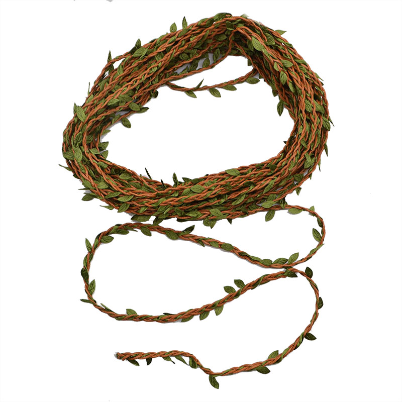 1 Roll 10m Green Leaf jute Wire Artificial Flower Vine Ivy Rattan For Wedding Party Decoration DIY Silk Garland Wreath Flowers image