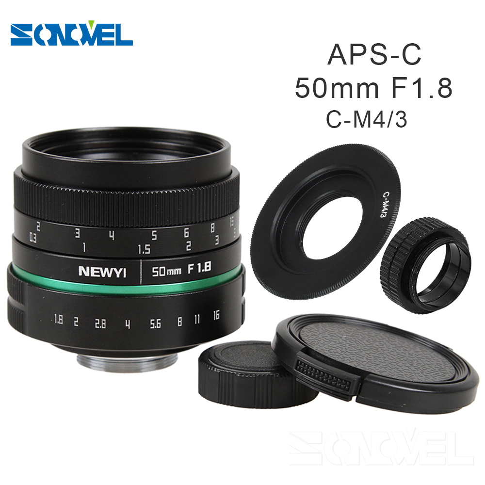 Camera lens 50mm f1.8 APS-C Multi-coated Movie Lens+C Mount for Olympus Panasonic Micro 4/3 M4/3 G7 GH3 G85 GX85 GX7 E-M5 50mm f1 4 cctv lens macro rings c m4 3 adapter ring set for olympus panasonic camera silver