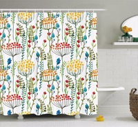 High Quality Arts Shower Curtains Hand Drawn Doodle Style Flowers Blossoms In Watercolors Natural Bathroom Decorative Modern