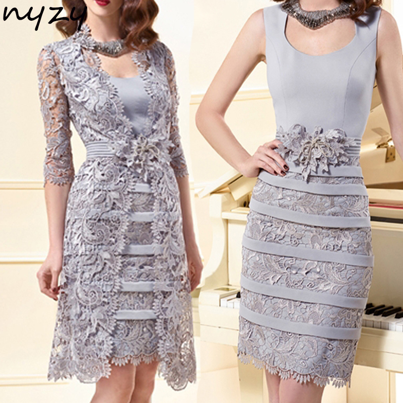 NYZY M39 Silver Cocktail Dresses Lace Two Piece With Jacket Bolero Vestidos Coctel Wedding Guest Dress Party Gowns