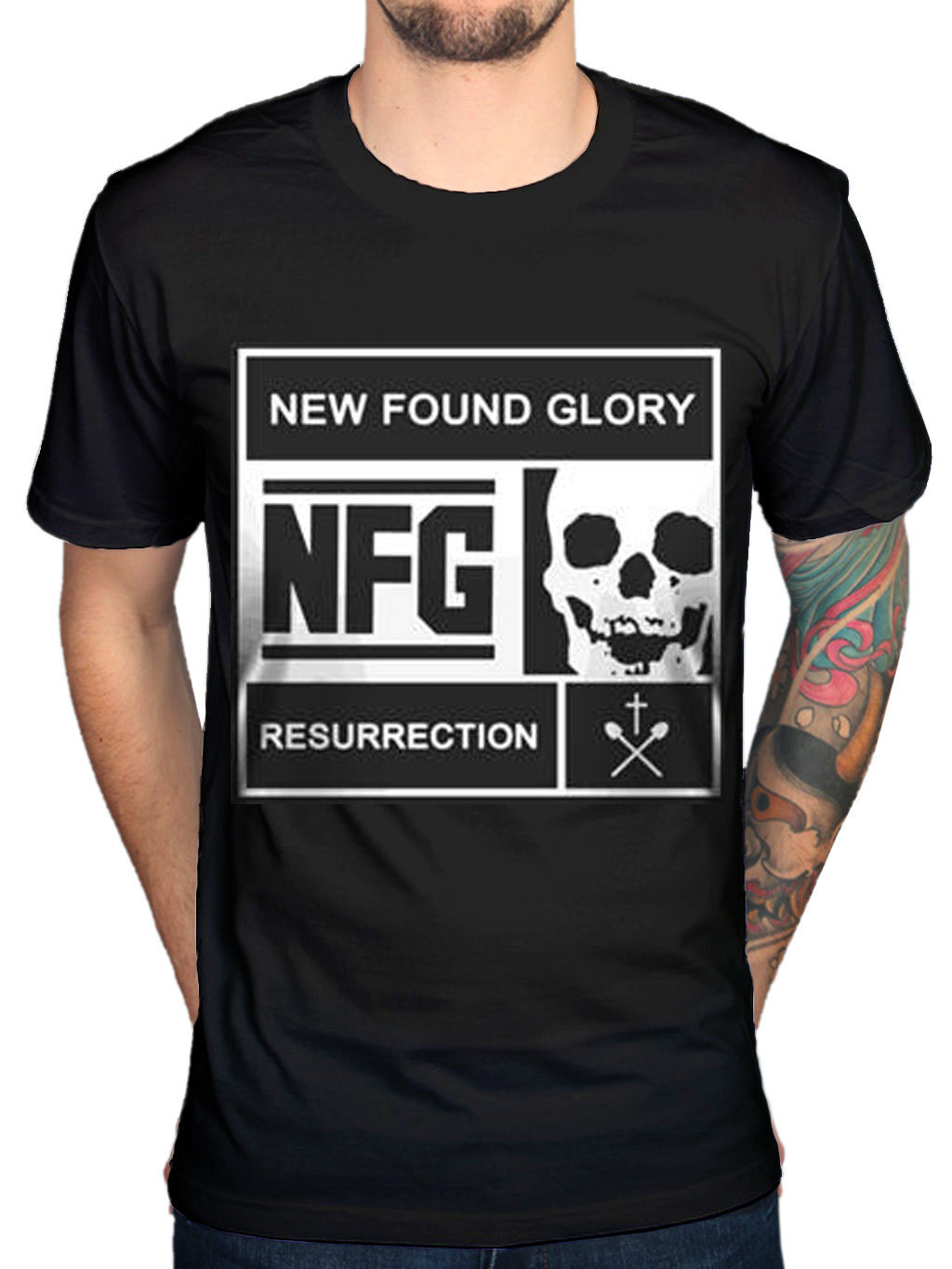 Official New Found Glory Blocked Resurrection T-Shirt Pop Punk Band Merchandise Sale 100 % Cotton T Shirt TOP TEE