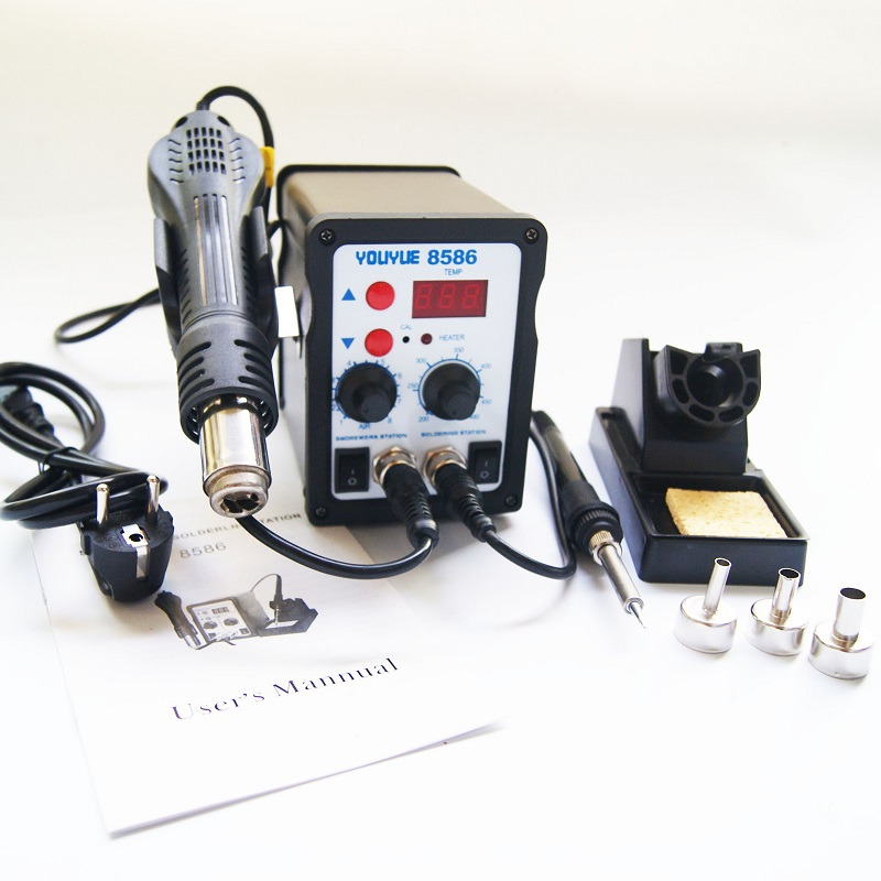 220V 700W  8586 2 in 1 SMD Soldering Stations Rework Station Solder Iron Better than Atten 8586 + Hot Air Gun + 3 Nozzles