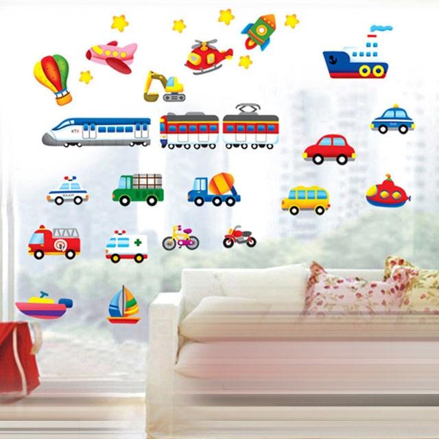 fundecor] cartoon animal train wall stickers for kids rooms nursery