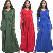 Autumn and winter new hot fashion personality casual long-sleeved middle-aged women large size fat MM high waist loose dress