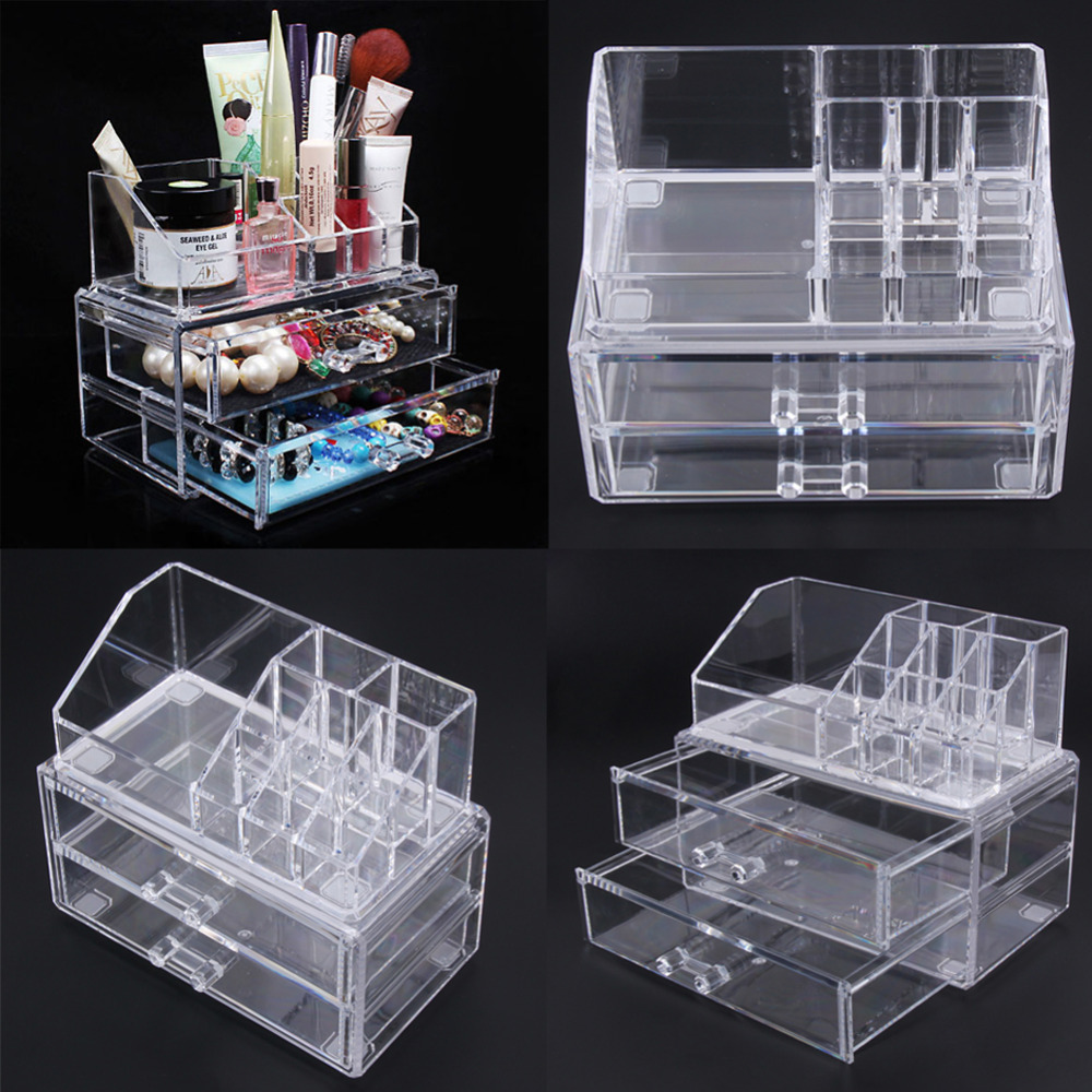 Transparent Acrylic Makeup Tools Organizer Case Clear Makeup Cream Bottles Brushes Kits Storage Box with Drawer Insert Holder big size clear stamp block with grid transparent stamp holder acrylic pad diy scrapbooking decoration tools acrylic holder