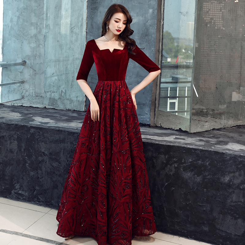 2019 New V Neck Long   Evening     Dresses   Robe De Soiree Sexy Luxury Wine Red Sequin Formal Party   Dress   Prom Gowns LF160