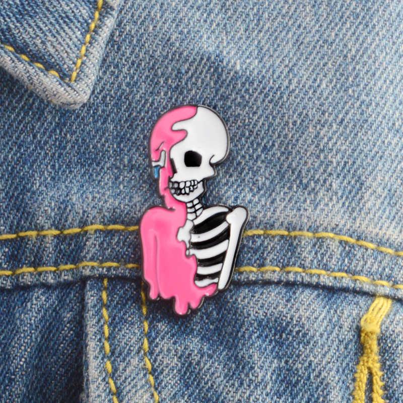 Merah Muda Kerangka Pin Lencana Bros Keras Pin Enamel Kerah Pin Perhiasan Punk Skeleton Perhiasan Tengkorak Bros Hadiah untuk Pria