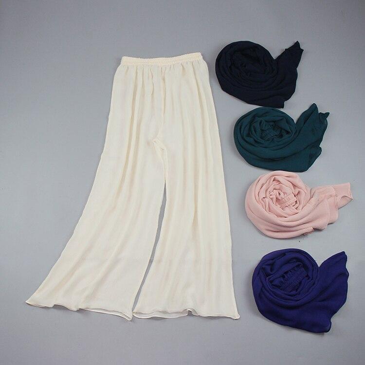 2018 в европейском стиле летние женские двойной палубы шелковая юбка брюки большой Размеры шелк широкая нога брюки многоцветный
