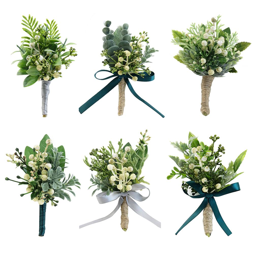 Handmade Artificial Green Plants Brooch Bouquet Corsage Wristlet Groom Bride Realistic Berry Boutonniere Wedding Party Decor