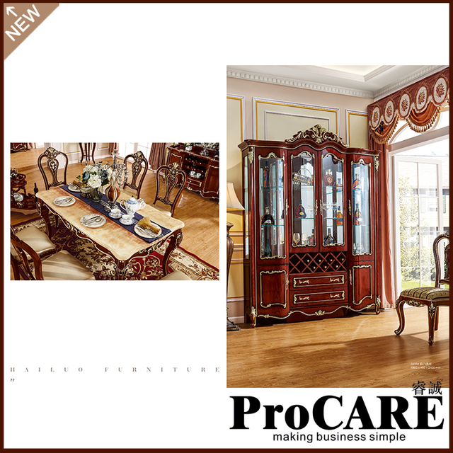Foshan Furniture Classic Solid Wood Wine Showcase Dining Room Display  Furniture