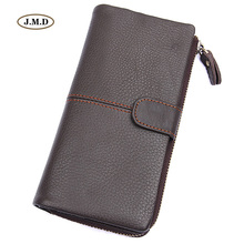 J.M.D New Arrivals Genuine Leather Fashion Design Mens Popular Style Purse Long Wallet Card Hoder Photo Window 8159Q