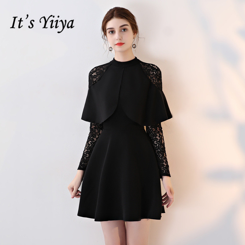 It's YiiYa Little Black Stand Collar Full Sleeve Embroidery Lace Zipper   Cocktail     Dresses   Above Knee Length Formal   Dress   LX429