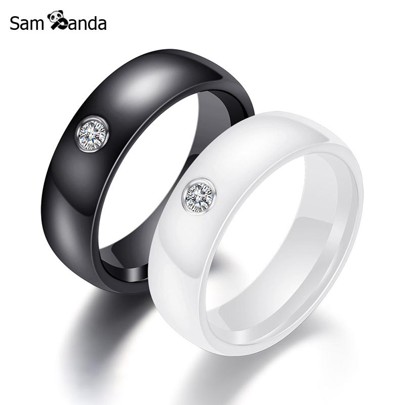 Fashion Rings Crystal Women Accessories Engagement Men Band Ceramic Luxury Jewelry Wedding