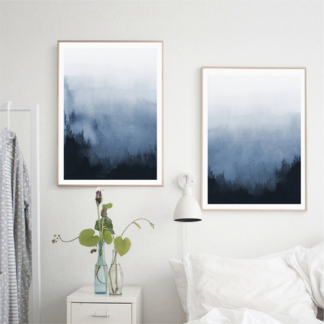 US 4040 40% OFFAbstract Art Canvas Prints Home Decoration Blue And White Canvas Painting Wall Pictures For Living Room Bedroom Art Decorin Simple Bedroom Canvas Prints