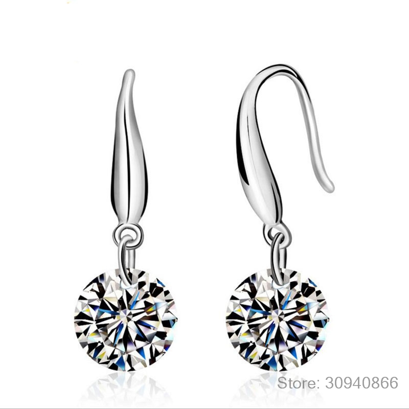 HTB1vbgBaMFY.1VjSZFnq6AFHXXao - 2019 Fashion jewelry 925 silver Earrings Female Crystal from Swarovski New Woman name earrings Twins micro set