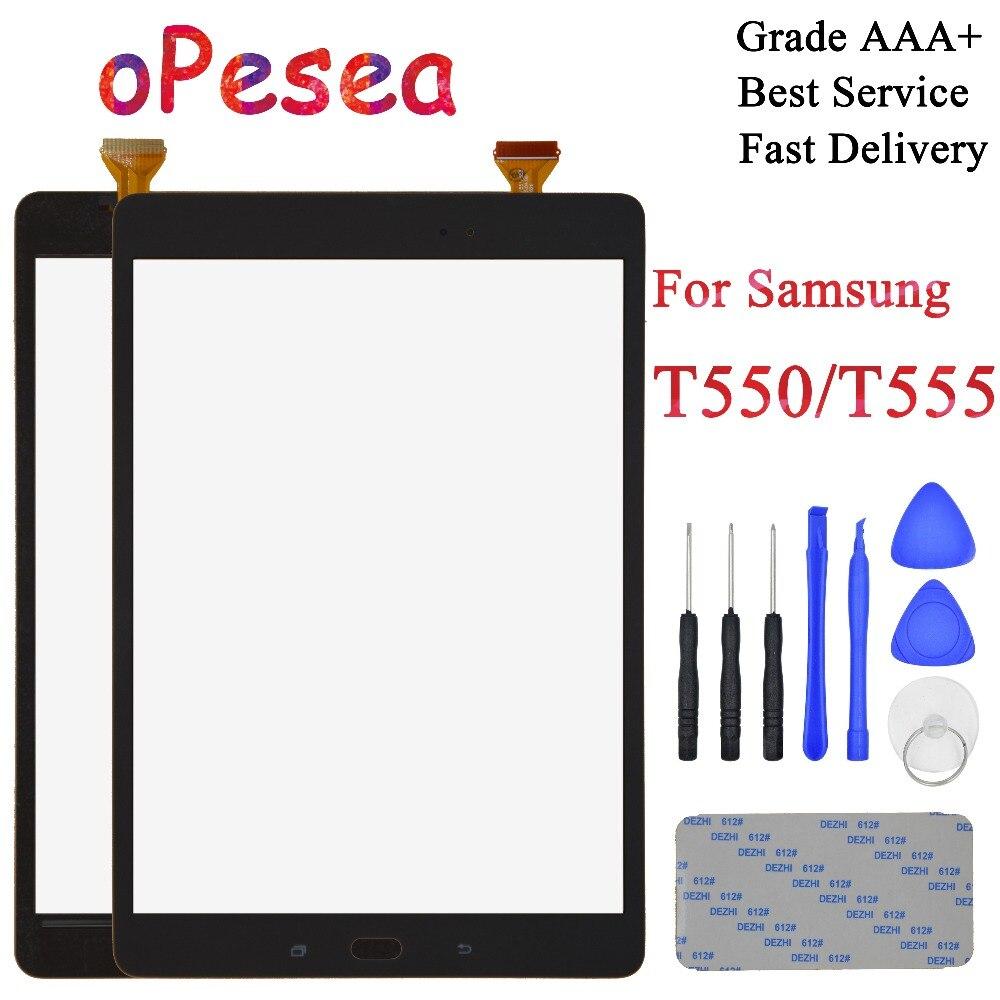 OPesea 9.6 ''Para Samsung Galaxy Tab 9.7 T550 T555 SM-T550 SM-T555 Digitador Do Painel Frontal Da Tela de Toque Sensor de Vidro substituição