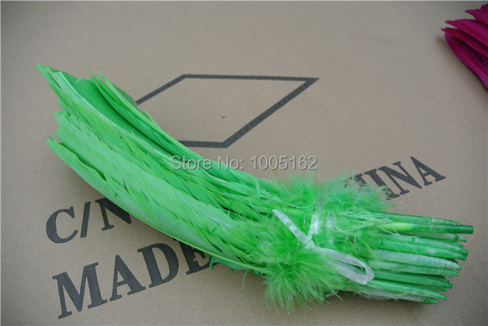 Wholesale 100PCS lime green goose feathers 12inches Turkey Quill Feathers Turkey round Feathers