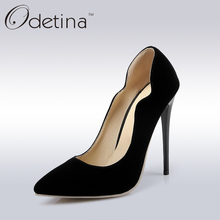 Odetina Elegant Women Nude High Heels 7 Clolors Fashion Women Pumps 12 Cm Super High Heels Office Ladies Pointed Toe Dress Shoes(China)